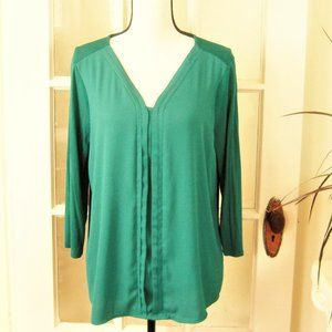 Dana Buchman Sz L Forest Green 3/4 Sleeve Blouse